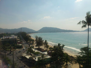Hotels sit directly on Patong Beach